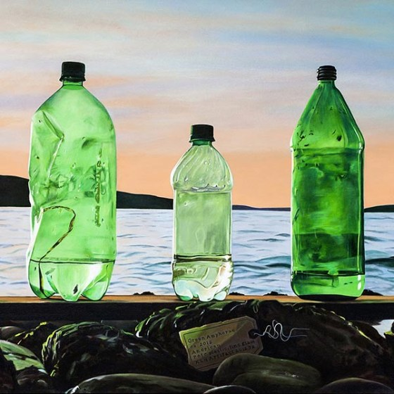 realist painting of green bottles washed up on beach
