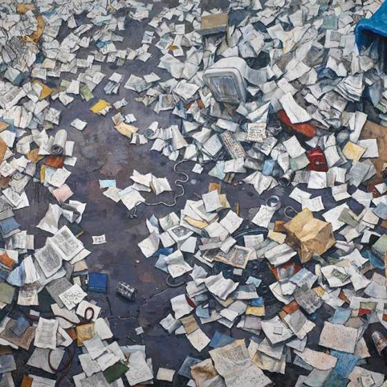 paper and trash scattered on ground