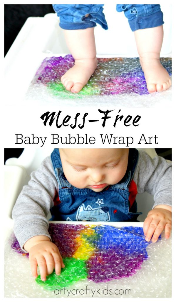 Baby bubble wrap art sensory baby toddler activity for Craft paint safe for babies