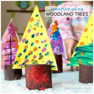 Arty Crafty Kids   Art   Creative Play Woodland Trees   Transform beautiful process art into woodland trees for some magical woodland play!