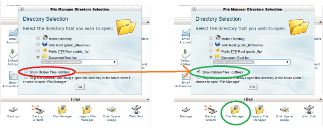 hidden files visible in file manager in cpanel
