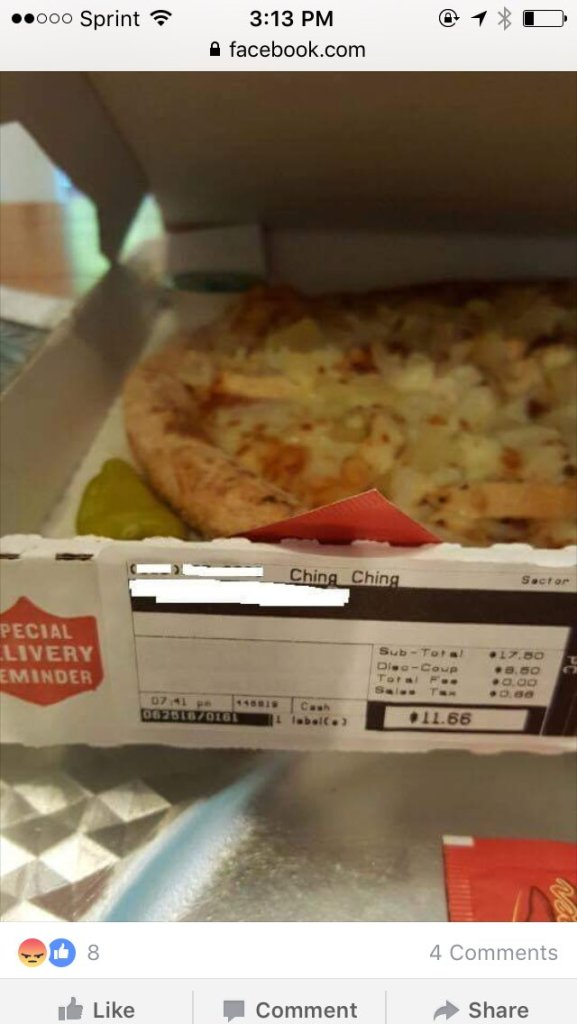 Papa John pizza labeled with a racial slur