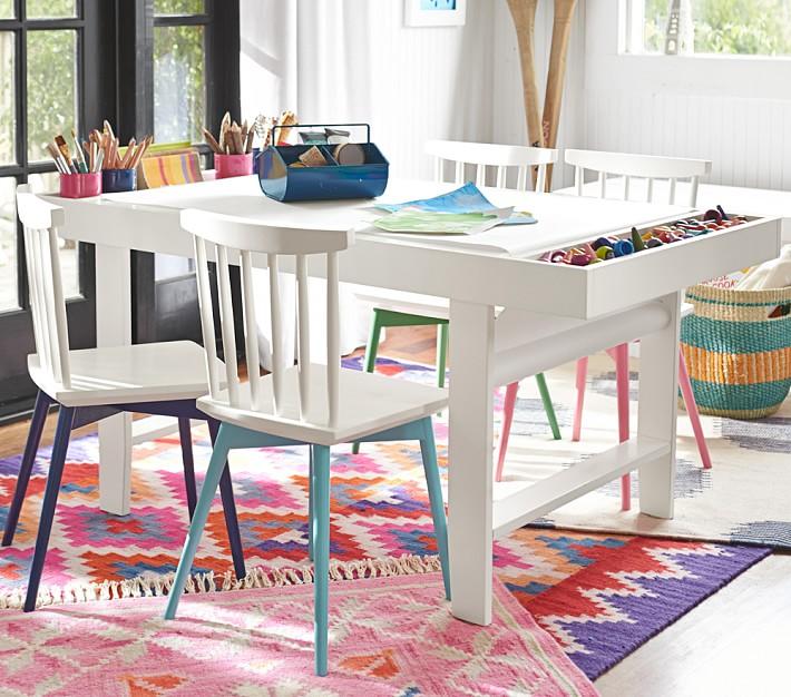 Diy geometric kids art table september fab furniture for Craft tables for kids