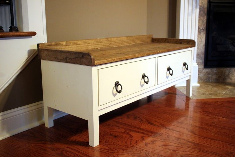 DIY Storage Bench with pulls from D. Lawless Hardware