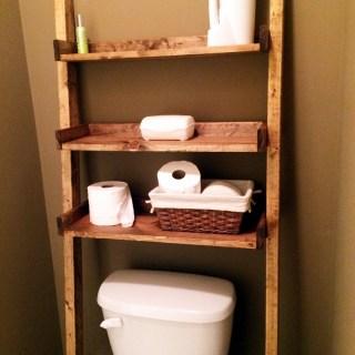 Bathroom ladder shelf white