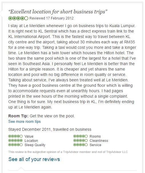 Le Meridien Kuala Lumpur review