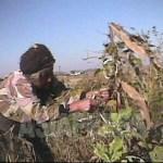 (참고사진) 늙은 농촌 여성이 수확 후 시든 옥수수 밭에서 남은 옥수수를 모으고 있다. 2008년 9월 황해북도 사리원시 근교 농촌. 심의천 촬영