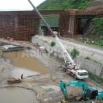 길림시와 훈춘시를 연결하는 고속철도 현장. 2013년 7월, 도문시에서 촬영
