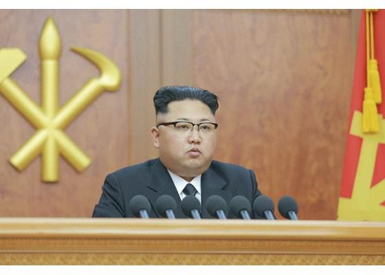 신년사를 하는 김정은. 2017년 1월 1일 노동신문에서 인용