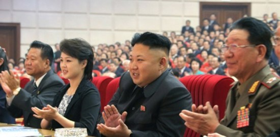 Kim Jong-un and his wife, Ri Sol-ju quoted from Rodong Newspaper on may 2014