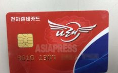 """Narae"" debit card issued by the Foreign Trade Bank of the Democratic People's Republic of Korea.  It is used for foreign exchange settlements.  Taken by a Chinese tourist in March 2015"