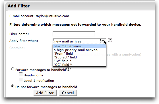 Blackberry Pearl: BIS Email: Setting up a new email filter