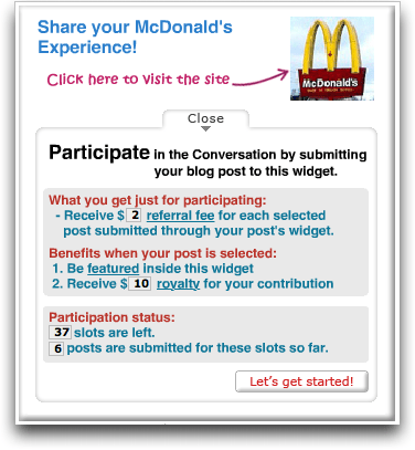 CREAMaid site, McDonald's Promotion