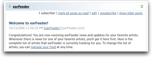 Earfeeder: Welcome message in my RSS reader