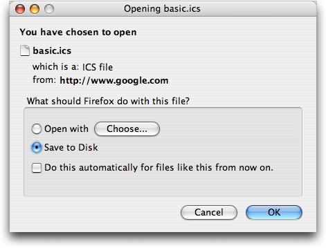 Firefox: Saving iCal ics format file from Google Calendar export