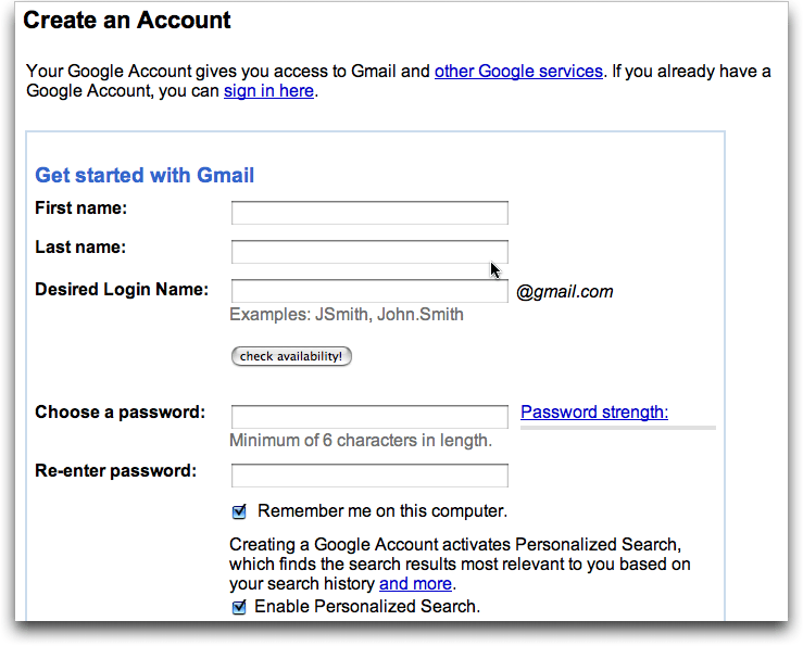 Create Gmail Account, Screen #1