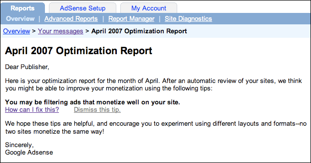 Google AdSense: Optimization Report Message