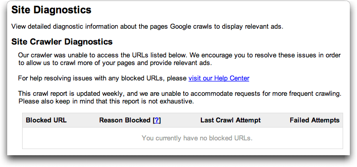Google AdSense: Site Diagnostics