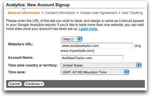Google Analytics: Signup