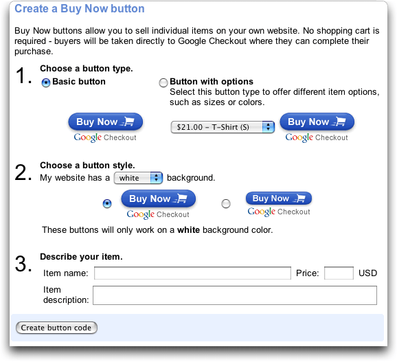 Google Checkout: Buy Now button creator