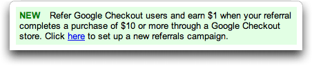 Google Checkout Affiliate Program / Referral Program Advert from AdSense