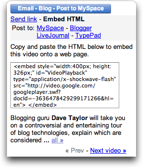 Google Video: Navbar: Embed HTML in Blog Entry or Web Page