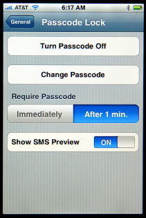 Apple iPhone Settings: General: Passcode (password, security code) Lock