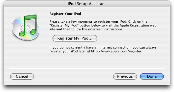 Apple iTunes: iPod Registration