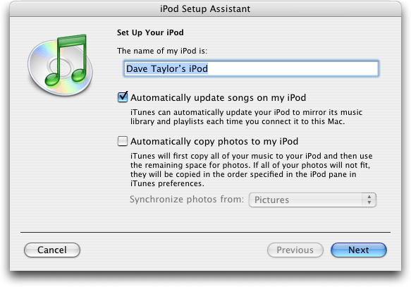 Apple iTunes: iPod Setup