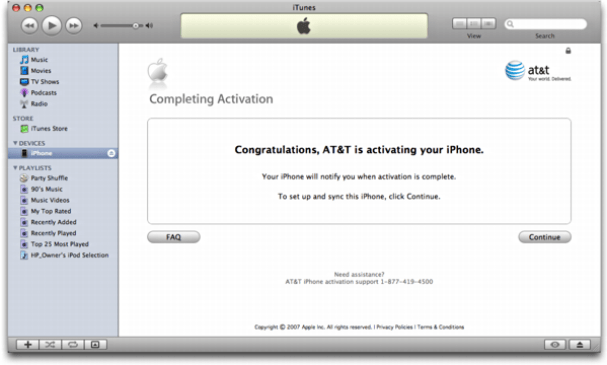 iTunes on Mac OS X: Apple iPhone: Activation. Finally!