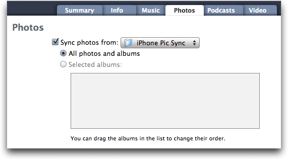 Mac OS X Finder: iTunes: Sync selected folder of photographs