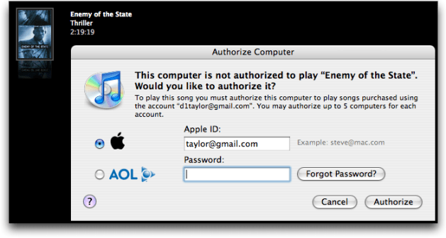 iTunes Movie DVD: Computer Mac PC Not Authorized