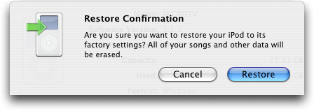 Apple iTunes: iPod Update Confirmation Window