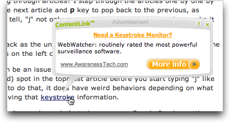 An Example of a Kontera ContentLInk contextual pop-up advert