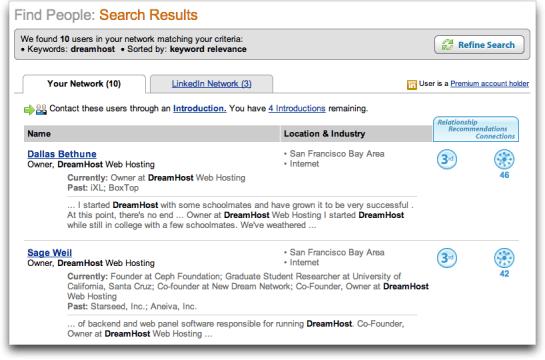 LinkedIn: Results of a search for Dreamhost