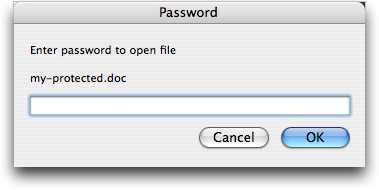 Entering a document password in Microsoft Word for Mac OS X