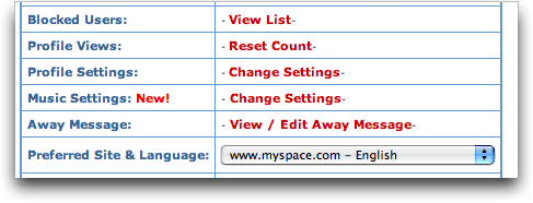 MySpace Account Settings: Music