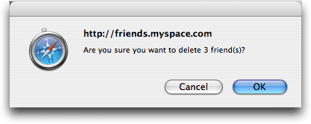 MySpace: My Friend Space: Are you Sure you want to delete these friends?