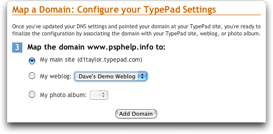 Typepad: Map a Domain Name: Configure Settings