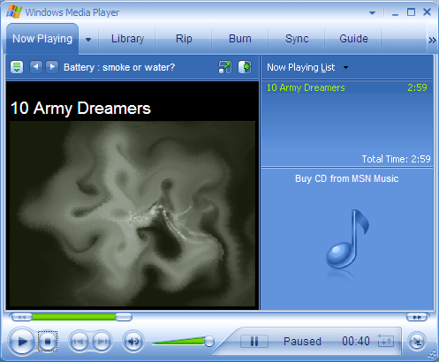 Windows Media Player playing a converted WMA audio flie!