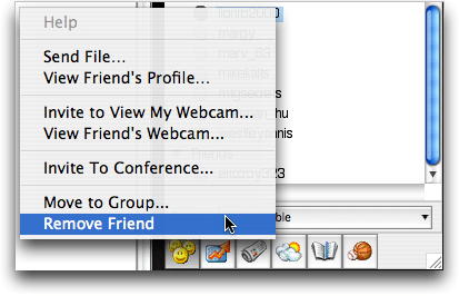 Yahoo Messenger (YIM) for Mac OS X: Contextual Menu