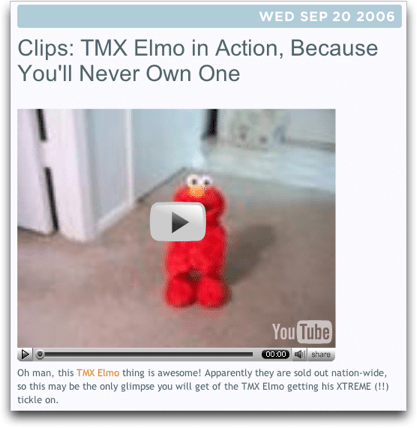 YouTube: TMX Elmo on Gizmodo