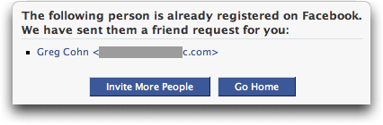 Facebook: Invite Friend: Invited