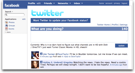 Twitter within Facebook