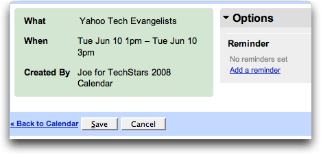 Google Calendar: read only shared calendar: event details