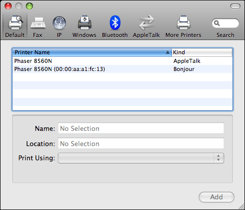 mac print fax add printer