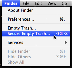 mac secure empty trash menu