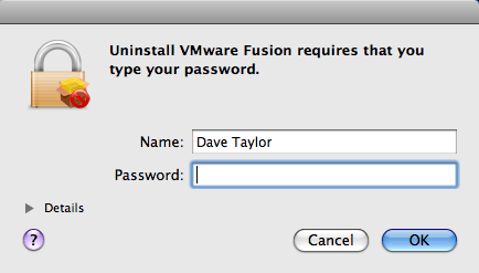 uninstall vmware fusion password