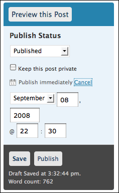wordpress publish schedule post (wp blog post scheduling)