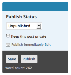 wordpress publish status unpublished (wp blog post scheduling)
